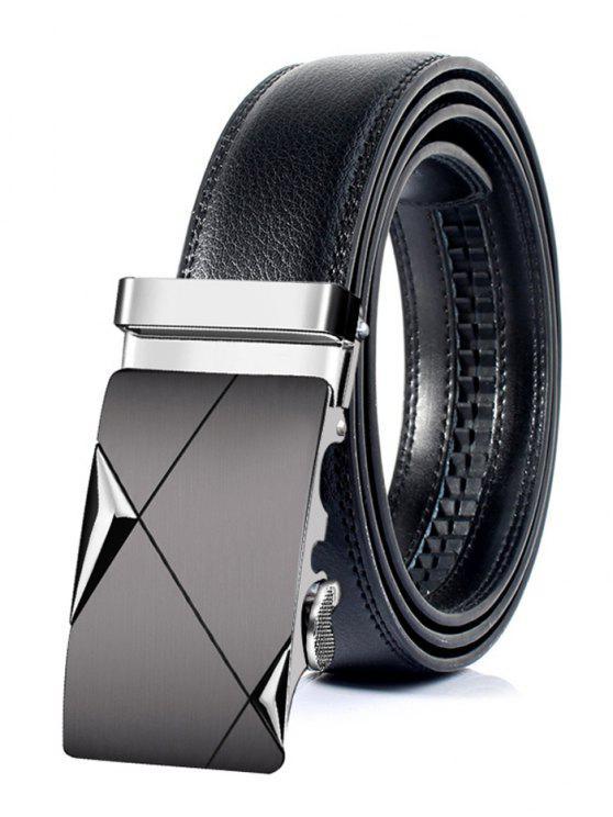 Cinto de couro artificial de fivela metálica automática vintage - Prateado  130cm