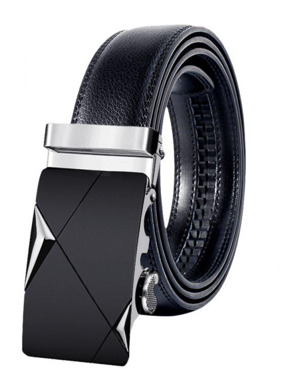 Metal Buckle Faux Leather Fivela automática Wide Belt - Prateado  110CM