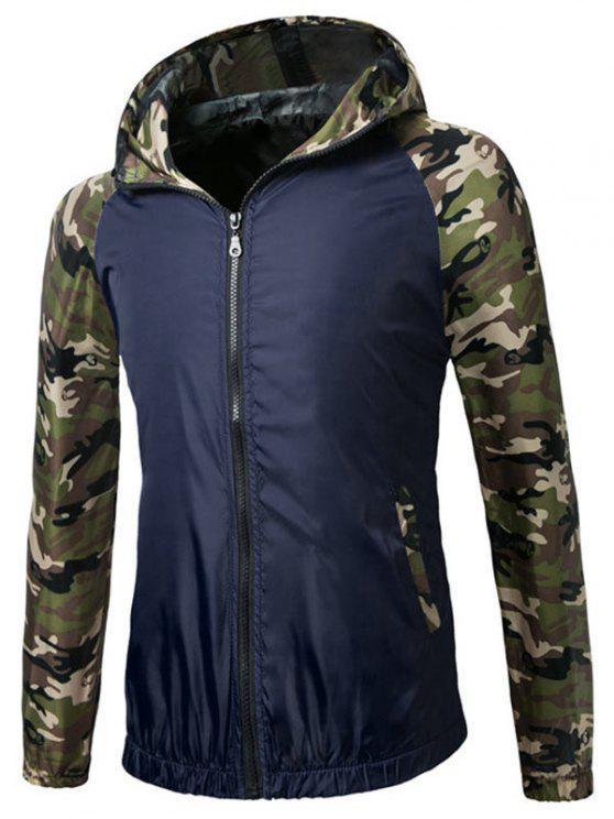 shop Raglan Sleeve Camo Hooded Lightweight Jacket - DEEP BLUE M