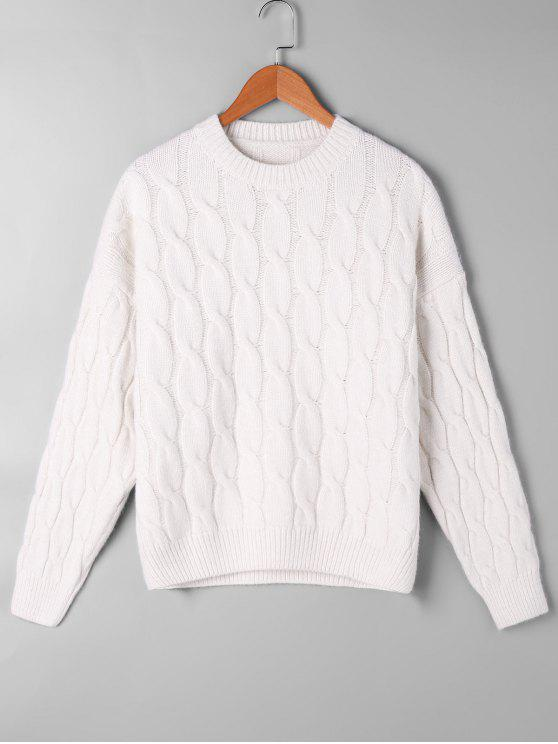 outfits Cable Knit Pattern Drop Shoulder Sweater - OFF-WHITE ONE SIZE