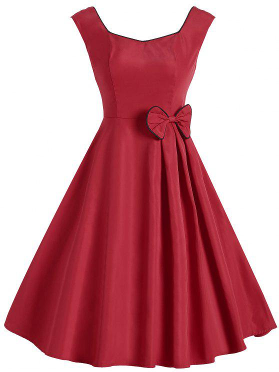 2e33c646663b 29% OFF] 2019 Vintage Bowknot Sleeveless Dress In RED   ZAFUL