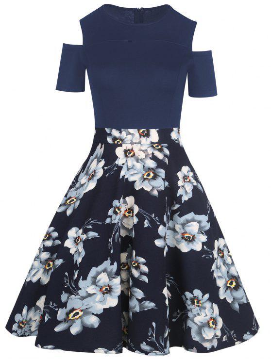 b9b6d2f470 63% OFF] 2019 Cold Shoulder Floral Print Vintage Dress In PURPLISH ...