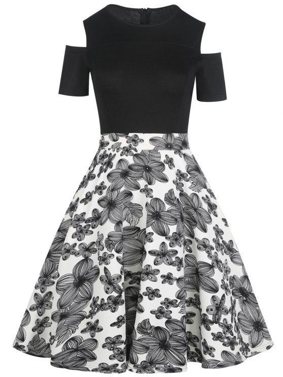 bbd2e9e19f08 29% OFF] 2019 Cold Shoulder Floral Print Vintage Dress In WHITE   ZAFUL