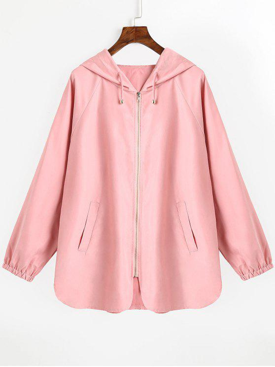 shop Drawstring Hooded Zip Up Coat - PINK S