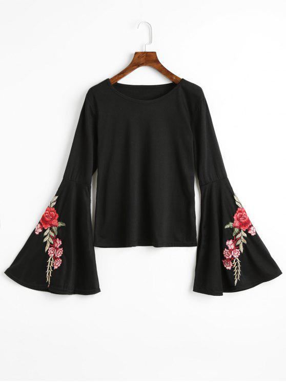 women's Floral Patched Flare Sleeve Tee - BLACK XL