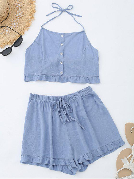 trendy Cropped Button Up Top and Ruffles High Waisted Shorts - GREY BLUE M