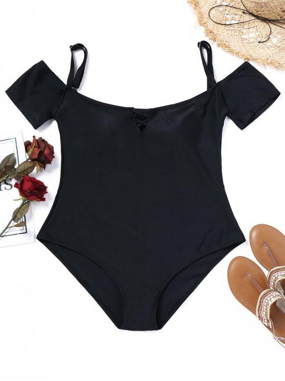953b599eea6 22% OFF] 2019 Padded Plus Size One-piece Bathing Suit In BLACK | ZAFUL