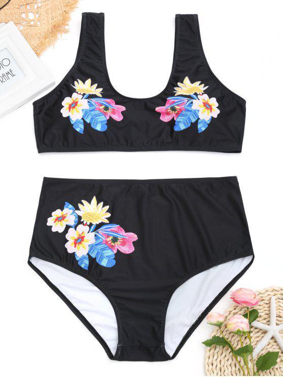 unique Floral Plus Size High Waisted Bikini - BLACK XL