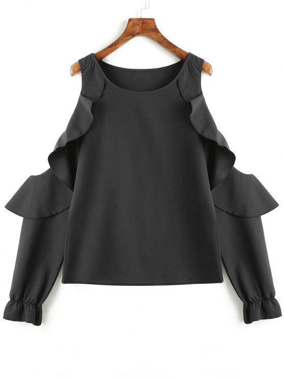 trendy Ruffles Cold Shoulder Blouse - BLACK M