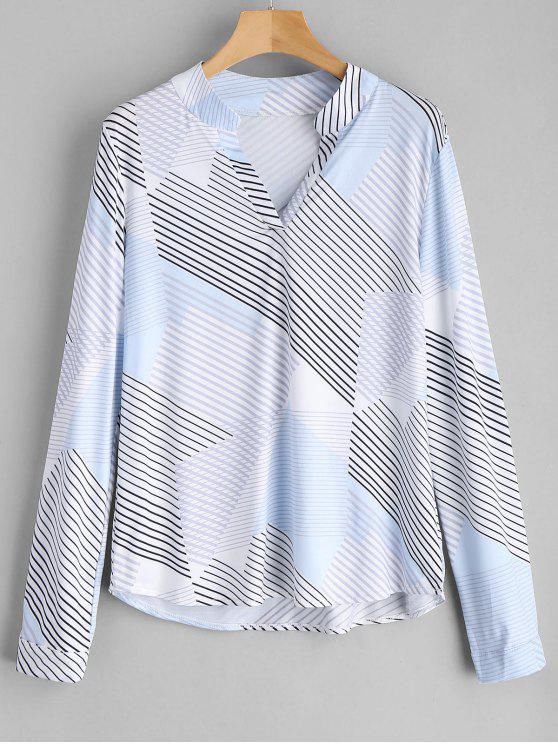 new V Neck Contrast Striped Blouse - STRIPE M