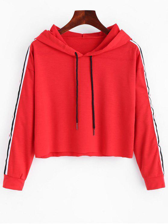 trendy Striped Crop Hoodie - RED M