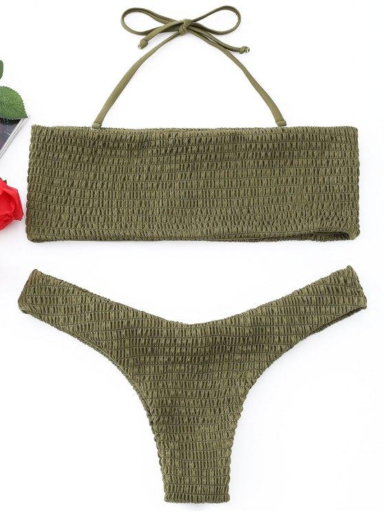 Conjunto de Bikini de Bandeau Smocked - Ejercito Verde S