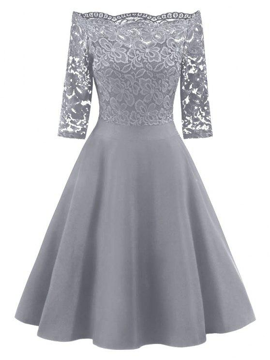 4c4635ab47e 28% OFF  2019 Lace Panel Off The Shoulder Vintage Flare Dress In ...