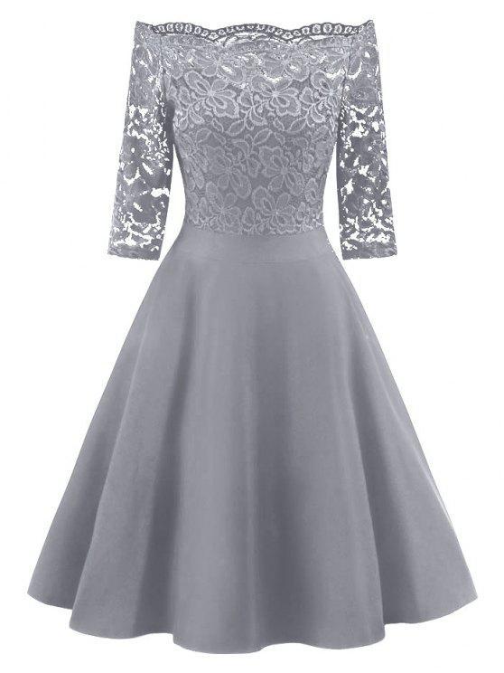 8afa147dc7bd 28% OFF  2019 Lace Panel Off The Shoulder Vintage Flare Dress In ...