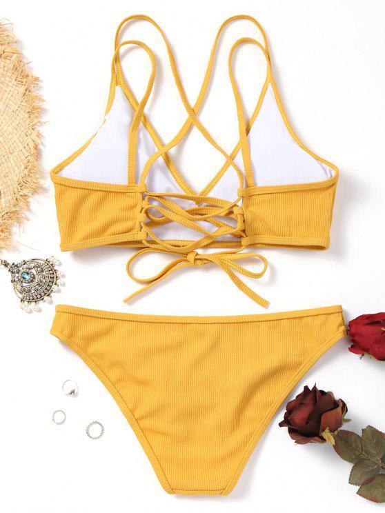 affordable Cross Back Lace Up Bikini Set - MUSTARD L