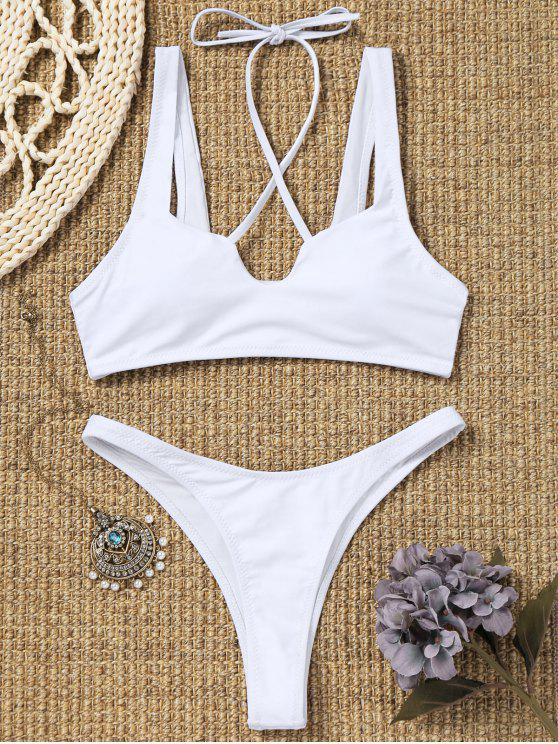 outfit High Cut Thong Bikini Set - WHITE S