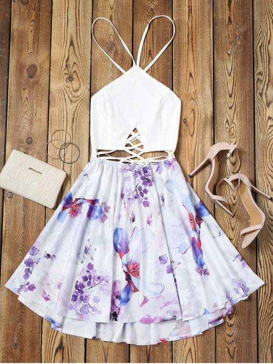 affordable Criss Cross Backless Floral Flare Dress - FLORAL M