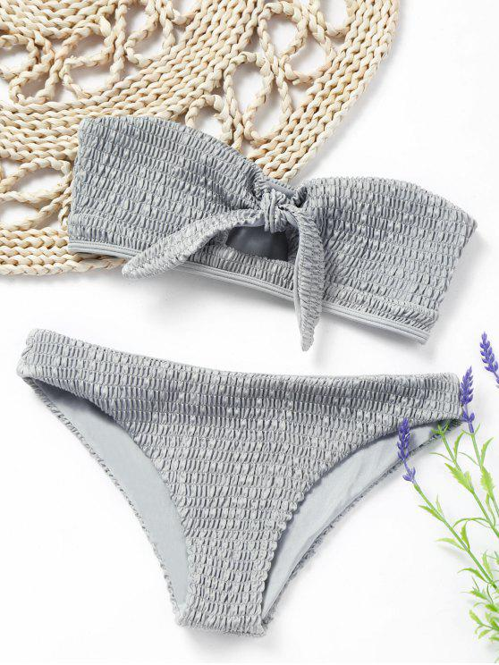 new Knotted Smocked Bandeau Bikini Set - GRAY M