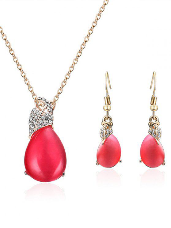 buy Faux Crystal Heart Shape Embellished Jewelry Set - RED