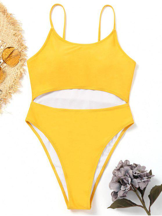 womens Cut Out One-piece High Leg Swimwear - YELLOW L