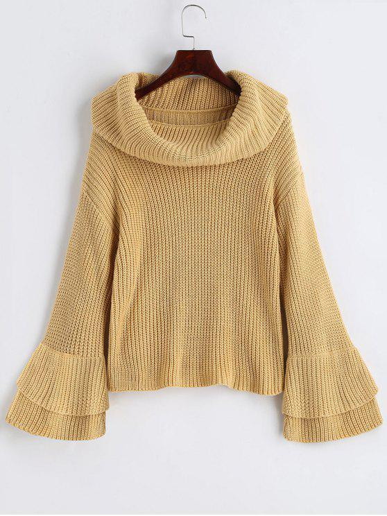 e56aace79e9 33% OFF  2019 Flare Sleeve Cowl Neck Pullover Sweater In LIGHT CAMEL ...