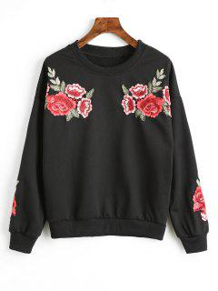 Drop Shoulder Floral Appliques Sweatshirt - Black S