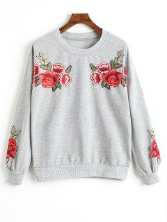 Drop Shoulder Floral Appliques Sweatshirt - Gray S