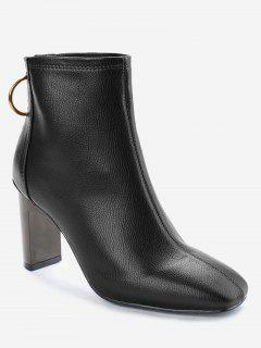 Square Toe High Heel Short Boots - Black 36