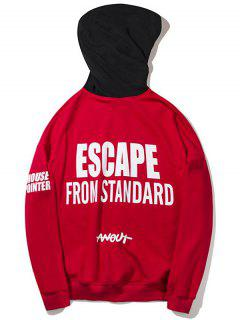 Letter Color Block Hoodie - Red Xl