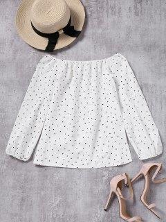 Puños Elásticos Lunares Blusa Hombro - Blanco M