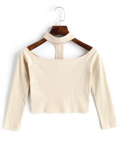 Knitted Cropped Choker Top - Light Apricot M