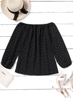 Elastic Cuffs Polka Dot Off Shoulder Blouse - Black S
