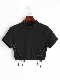 Cropped Knitted Lace Up Top - Black Xl