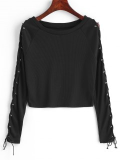 Cropped Ribbed Lace Up Top - Black M