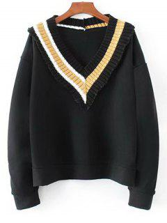 Knitted Panel V Neck Sweatshirt - Black L