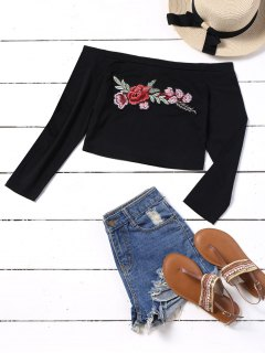 Embroidered Patches Cropped Off Shoulder Top - Black M