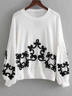 Lantern Sleeve Contrast Applique Sweatshirt - White L