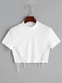 Cropped Knitted Lace Up Top - White Xl