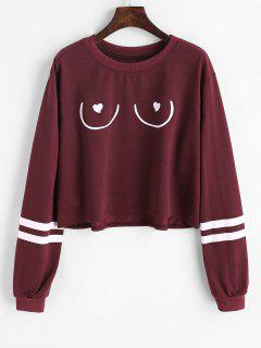 Striped Graphic Sweatshirt - Dark Red S