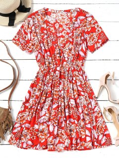 Short Sleeve Half Buttoned Floral Mini Dress - Red M