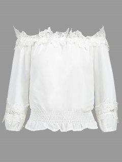 Off Shoulder Smocked Lace Panel Blouse - White S