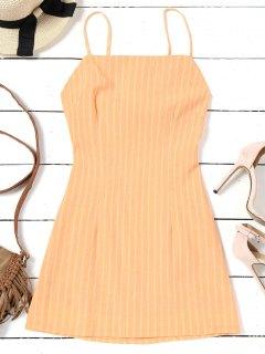 Mini Vestido De Rayas Recorte Bowknot - Amarillo L