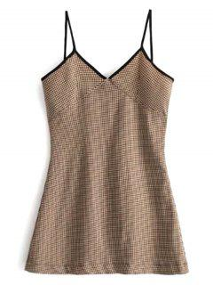 Contrast Trim Houndstooth Mini Dress - Brown L