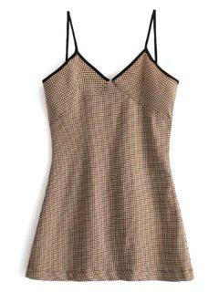 Mini Vestido De Antelina Con Borde En Contraste - Marrón L