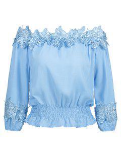 Off Shoulder Smocked Lace Panel Blouse - Light Blue M