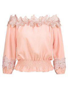 Off Shoulder Smocked Lace Panel Blouse - Orangepink L