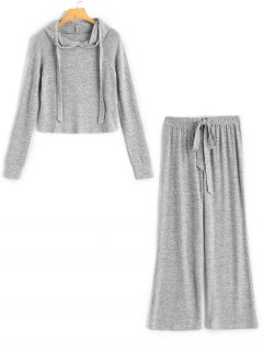 Raglan Sleeve Sporty Knitwear And Drawstring Wide Leg Pants - Gray M
