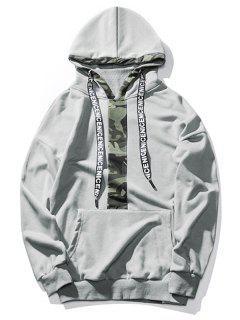 Kangaroo Pocket Camo Pullover Hoodie - Gray 2xl