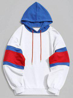 Kangaroo Pocket Color Block Hoodie - White L