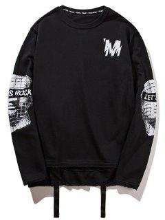 Ribbon High Low Graphic Sweatshirt - Black M